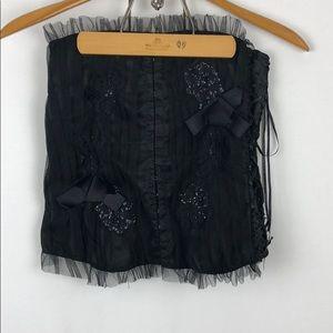 Black Costume Side Side Tie Corset size Large